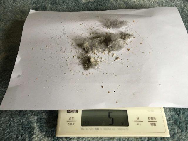 ダイソン1回目のゴミの重さの写真