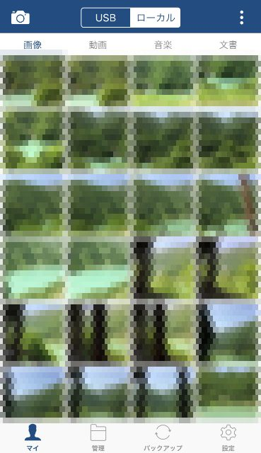 フラッシュドライブアプリで見たiPhone内の写真モザイク