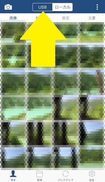 フラッシュドライブアプリで見たiPhone内の写真モザイク画像