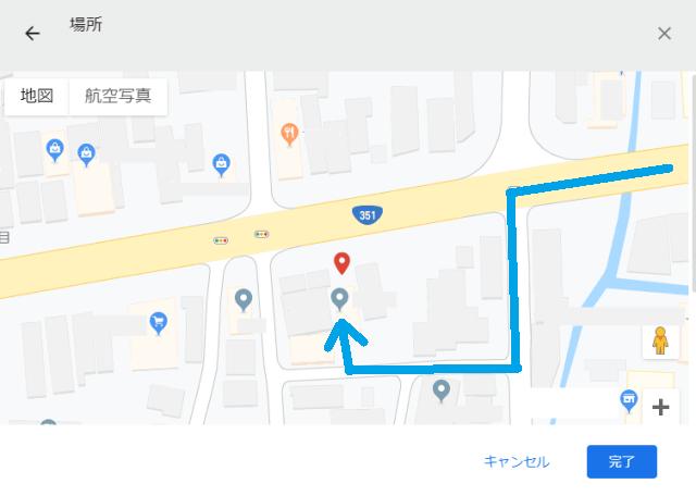 裏通りを案内されているルート
